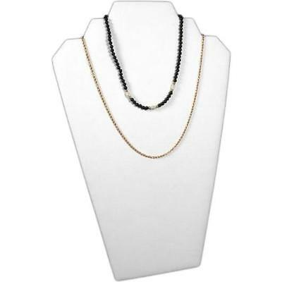 """White Faux Leather Necklace Chain Jewelry Display Stand Bust 8 1/4"""" x 12 1/2"""""""