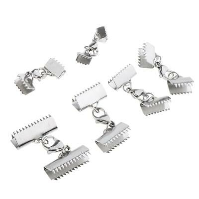 6pcs Necklace Clamps Clip Ribbon Ends Over Crimp Cord Caps Lobster Clasps