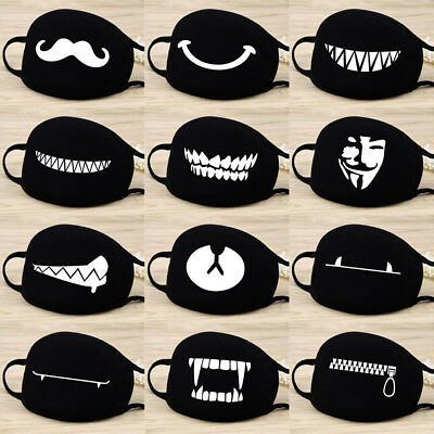 Unisex Windproof Cotton Face Masks Black Mask Cute Half Face Mouth Muffle Gifts