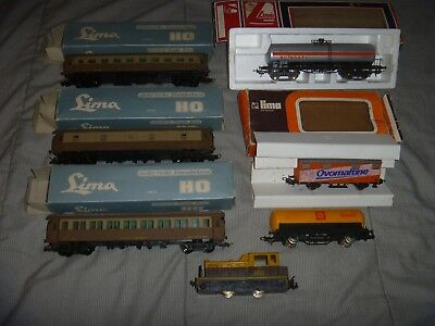 Model Trains - HO - Bulk Lot of Lima Carriages & Switcher - 7 Items - 5 Boxed