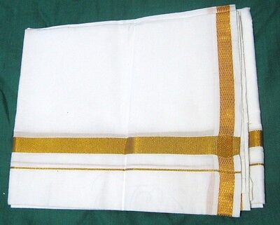 Indian White Cotton Lungi Sarong Dhoti Mundu Gold Border