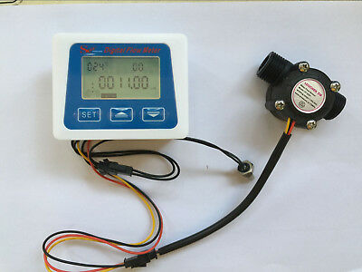 "G1/2""  flow sensor +LCD display Digital meter temperature measuring  Liter Gal"