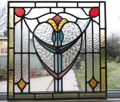 A LOVELY ORIGINAL RECLAIMED FULLY RESTORED STAINED GLASS PANEL - Ref SG261