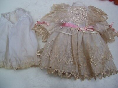 Alte Puppenkleidung White Lacy Dress Outfit vintage Doll clothes 45 cm Girl