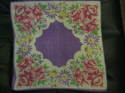 Gorgeous Purple Floral  Vintage Handkerchief. STuNNing! A Must SEE!