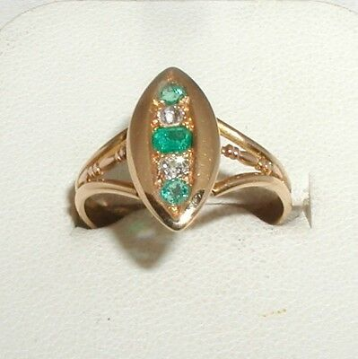 """Victorian 18ct Gold Emerald & Diamond 5-Stone Ring"" Chester 1896"