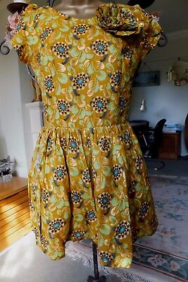 True Vintage 1980's Mustard Yellow Floral Party Dress Size UK 10/12