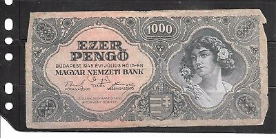 Hungary #118 1945 1000 Pengo Old Good Circulated Banknote Paper Money  Note