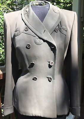 1940'S Vintage WWII womens suit, Original Appliques Fitted, Straight Skirt Taupe