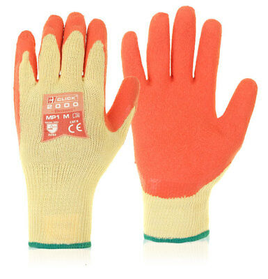 100x Pairs Click Latex Rubber Coated Grip Gripper Work Safety Gloves Builders