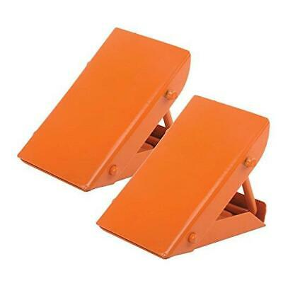 High Visible Best Anti Roll Safety Wheel Tyre Chocks - Car Stopper - 2 x Orange