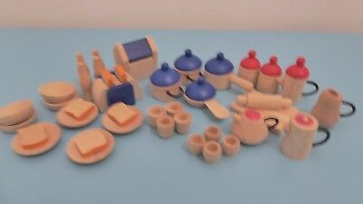 elc wooden kitchen items for dolls house pots, pans, teapot & lots of other item