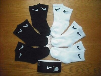 Toddler Boys NWT NIKE Socks Crew 6prs 3 Black + 3 White Sz:3T-4T PRE-SCHOOL!!