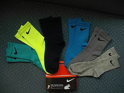 Toddler Boys NWT NIKE Crew Socks 6prs Neon Green Black Grays Shoe Szs:3T-4T
