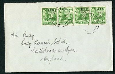 Samoa 1922 ½d perf. 14x14½ SG 149 x4 used Apia-England (cat. £64 x4 on cover)