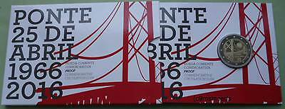 Portugal 2 Euro Gedenkmünze 2016 Brücke Ponte Coin Set Blister Official Proof PP