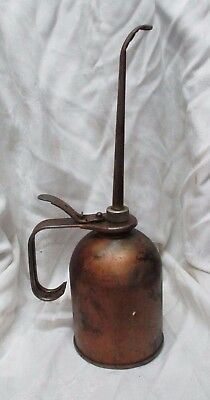 """Vintage EAGLE Brass Oil Can Handled Oiler with Push Lever 14"""" Tall Hang on Wall"""