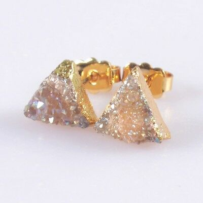 9mm Triangle Natural Agate Titanium Druzy Stud Earrings Gold Plated T050359