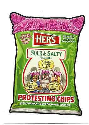 2017 Topps Wacky Packages Trumpocracy 1St 100 Days # 74 Her's Protesting Chips
