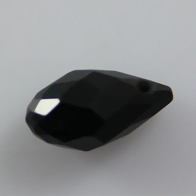 10 Pcs Swarovski Black crystal 6*12mm Horizontal hole Teardrop bead C