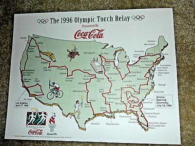 """2 1996 Olympic Torch Relay Route Maps Coca-Cola 11"""" x 8.5""""  with cities listing"""