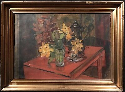 Large 1960's Danish Still Life Signed Oil Painting - Tulips & Flowers Interior