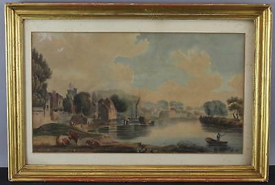 Antique Early 19thC English Country Town Watercolor Painting, Gilt Frame, NR