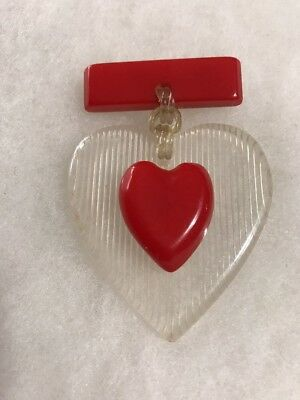 Rare Vintage Art Deco RED Tested Bakelite & Celluloid Heart Dangle Estate Brooch
