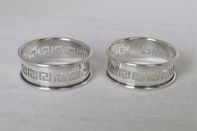 A Lovely Pair Of Solid Sterling Silver Pierced Napkin Rings Birmingham 1929.
