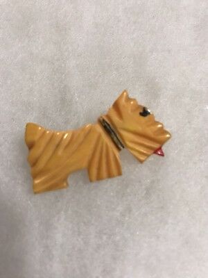 Adorable Vintage Art Deco Little Scotty Dog Tested Carved Bakelite Estate Brooch