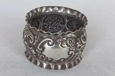 A Lovely Antique Solid Sterling Silver Embossed Edwardian Napkin Ring Dates 1902