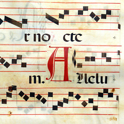 LARGE MUSIC ILLUMINATED MANUSCRIPT ANTIPHONAL LEAF c1612 FEAST PSALM 91 INITIALS