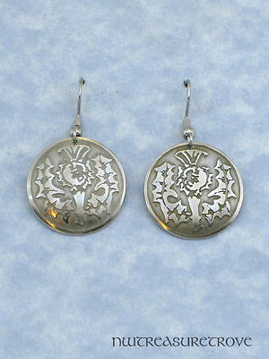 Scottish Thistle Earrings Nickel Silver NE-9