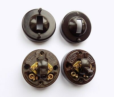 Two Vintage Crabtree Bakelite Light Switches With Ceramic Bases