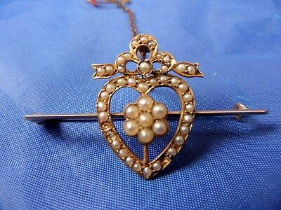 Stunning Antique 9Ct Gold & Seed Pearl Sweet Heart Lovers Heart Brooch