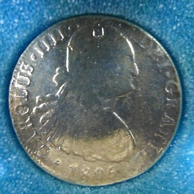 1806 Colonial Mexico 8 Reales Counter-stamped 916 w/Chopmarks Polished AG