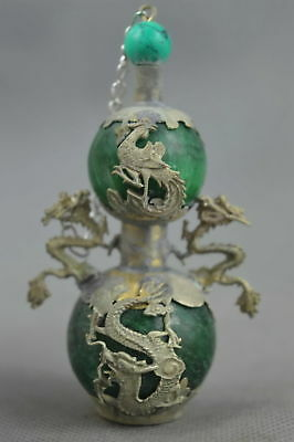 Collectable Handwork Old Miao Silver Carve Dragon Inlay Agate Gourd Snuff Bottle