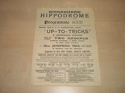 October 1930 Birkenhead Hippodrome Theatre Programme With Local Adverts