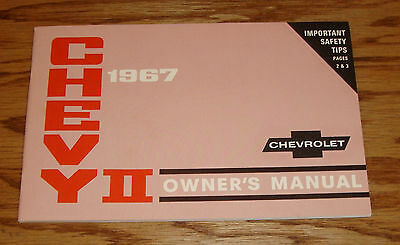 1967 Chevrolet Chevy II Nova Owners Operators Manual 67