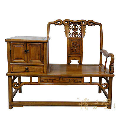 Vintagte Chinese Carved Camphor wood Telephone Table W/Chair 15LP05