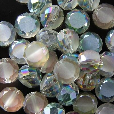 10 Pcs 10mm Swarovski Flat drum crystal bead C rose-green