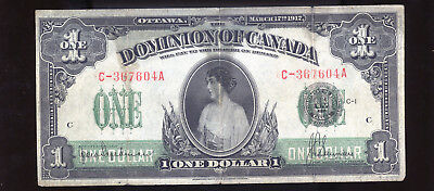 1917 Dominion of Canada $1 ONE over Seal stained  BL2075