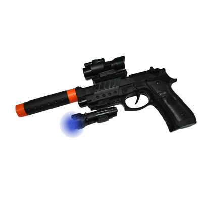 Gun With Silencer Play Set Toy SWAT Assault Police Rifle Machine Beretta M9 LED