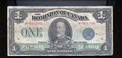 1923 Dominion of Canada $1 McCavour Saunders Blue Seal BL2077