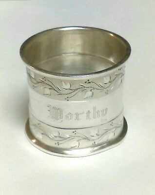 Very Early, Very Ornate Silver Napkin Ring~ Engraved DORTHY