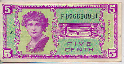 5 Cent Military Payment Coupon **series 541** Historic Note!
