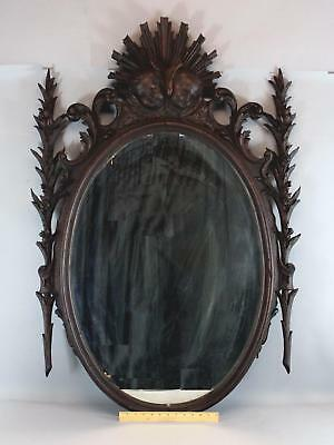 Large Antique 19thC Victorian Carved Walnut Mirror w/ Winged Cherub & Flowers NR