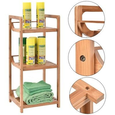 3 Tier Bathroom Shelf Bamboo Bath Storage E Saver Organizer Shelves Rack