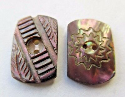 Lovely Lot of 2 Antique~ Vtg Victorian Carved MOP Shell BUTTONS Dyed Incised