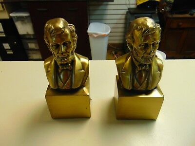 Vintage Brass cast heavy Book Ends - Bust of George Washington Quick Ship Rare